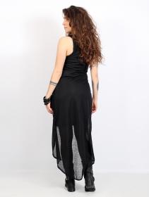 """Veste longue sans manches \""""Marrakech\"""", Noir semi transparent"""