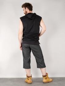"""Veste sans manches à capuche unisexe \""""Indica Olapa\"""", Noir imprimé gris métalique"""